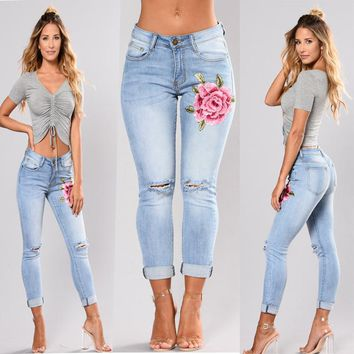 Women Fashion Casual Ripped Hollow Stretch High Waist Embroidery Flower Jeans Trousers