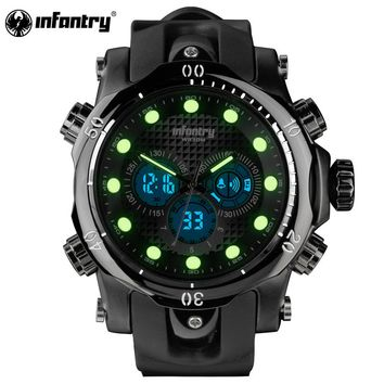 Mens Watches Top Brand Luxury INFANTRY Chronograph Sports Watch Analog-Digital Military Rubber Quartz Watch Relogio Masculino