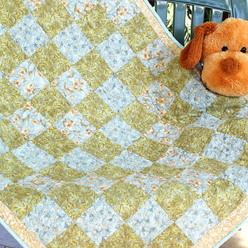 Baby Crib Quilt - Quilted Baby Blanket - Nursery Throw - Patchwork Baby Quilt - Blue Green Baby Quilt - Flannel Quilt - Babyshower Gift
