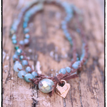 "33"" Ocean Colored Czech Crochet Necklace or 5x Wrap Bracelet with Bronze Heart, Beach Lovers Bohemian Wrap or Layering Jewelry"
