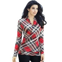 Women Cotton V neck Plaid Shirt