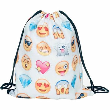 Emoji Faces Drawstring Bags Cinch String Backpack Funny Funky Cute Novelty