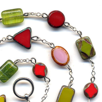 Red Pink and Green Necklace, Spring Color Necklace, Strawberry Field Necklace, All Shapes That You Would Want to Have in Your Mod Necklace