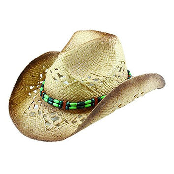 Western Cowboy Toyo Outback Hat w/ Green Beaded Hat Band