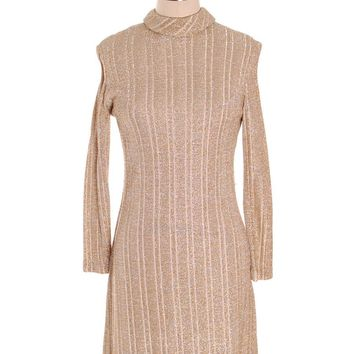 Vintage Gold & Silver Metallic Knit A line Dress 1970s Junior Touch S