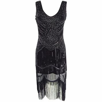 Women's 1920s Sequin Beaded Tassels Hem Flapper Dress Sleeveless Black Silver Thread Embroidery Fringe Great Gatsby Party Dress