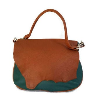 Rustic flap hunter green leather bag / colorful hobo purse / shoulder handbag handmade becky