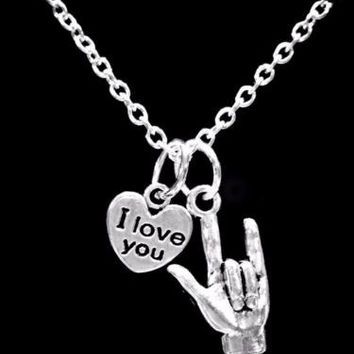 Sign Language Hand Symbol I Love You Heart Mother's Day Gift Necklace