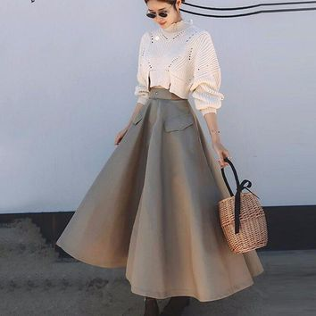 Autumn 2 Piece Set Women High Collar Knitting Pullovers Sweater With Elastic Waist Loose Skirt