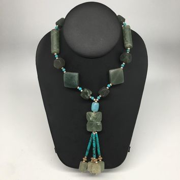 "Multi Shape Beads Green Nephrite Jade Beaded Necklace @Afghanistan,23"" NPH41"