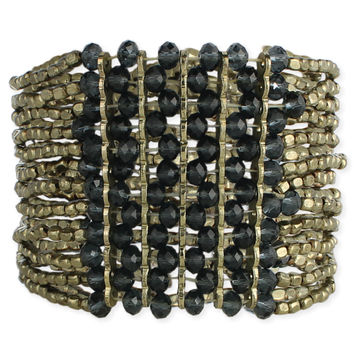 Wide Beaded Stretch Bracelet