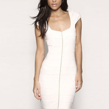 White Short Sleeve Front Zip Midi Bodycon Dress