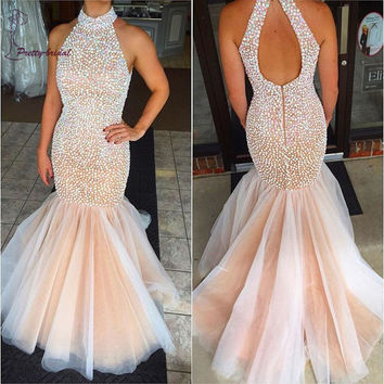 2016 Hot Sale Spackly Mermaid Halter Pageant Prom Dress Robe De Soiree Pearls Backless Formal Long Women Evening Dresses