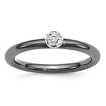 Black-Plated Sterling Silver Stackable Expressions Diamond Ring
