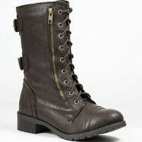 Lace Up Military Combat Mid Calf Boot Soda Dome Black Tan Brown Beige