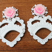 "PAIR Pink Glitter Rose With White Sweetheart  Dangle Ear Plugs / Gauges - 14mm (9/16"") ,16mm (5/8"") , 18mm (11/16"") , 20mm"