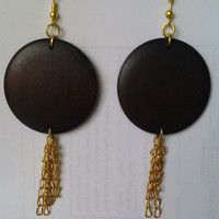Boho Wood Disk Earrings With Dangle Gold by allthingswildandfree