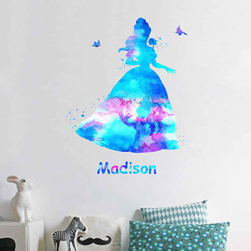 kcik1971 Full Color Wall decal Watercolor Character Disney Beauty and the Beast Belle Sticker Disney Girl name personalized Child's name