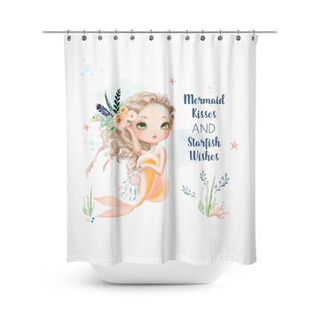 Peach Mermaid Shower Curtain