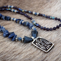 Sterling silver (925) Odins Raven hand cast pendant on historically inspired necklace with semi precious mixed blue stone beads