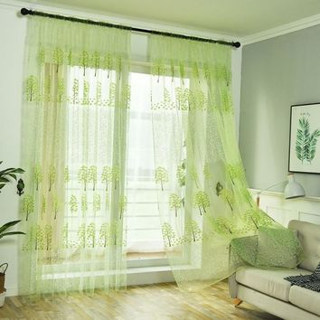 Window Tulle Curtains Sheer Voile for Bedroom Living Room Kitchen Tree Printed Sun-shading Curtains