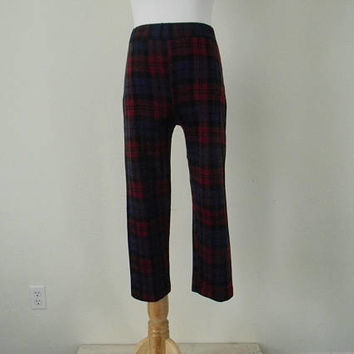 FREE usa SHIPPING Vintage plaid pedal pushers pants/ pant acrylic/ retro/ 1970s size xs