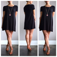 A Bamboo Tee Shirt Dress in Black