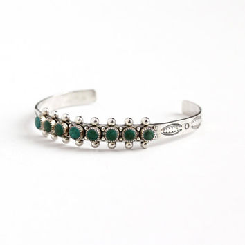 Vintage Sterling Silver Green Turquoise Cuff Bracelet - Retro 1970s Petite Studded Small Round Gem Southwestern Boho Tribal Jewelry