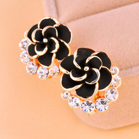 Elegant Black Camellia Earrings