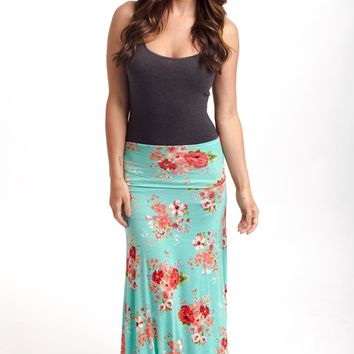Mint Green Floral Printed Maxi Skirt