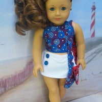 "for American Girl doll ""Buttons and Stars""  4 piece reversible halter ensemble (18 inch)summer top, skort,  purse, and hair clip Patriotic"