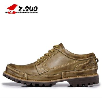 Z.SUO Men's Genuine Leather Tooling Ankle Boots For Men Casual Fashion Shoes Botas EUR Size:38-45