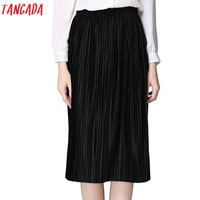 Tangada Velvet Pleated Skirts Womens Female Winter Fashion 2017 High Waist Straight Midi Skirt School Black Vintage Casual Jupe