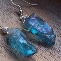 Blue Aqua Aura Ice Crystal Quartz Earrings