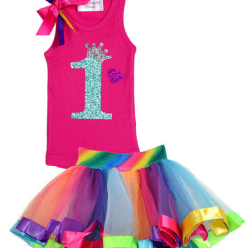 Baby's 1st Birthday, First Birthday, Rainbow Party, 1st Birthday Outfit, Rainbow Birthday Tutu Dress, Hot Pink, Jade, Personalized Name