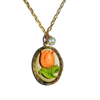 Light Orange Tulip Locket Charm Necklace, Mother's Day Necklace