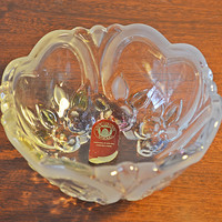 Walther Glas Candy Dish, Vintage Heart Shaped Design Glass Dish