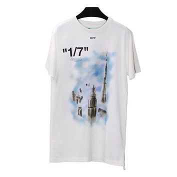 hcxx 728 OFF WHITE C-O VIRGIL ABLOH OW Men's and women's short-sleeved t-shirts restricted to dubai tower