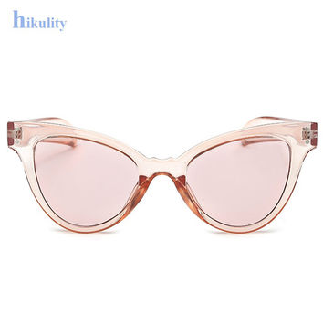 Candy Color Clear Glasses Women Brand Cute Sunglasses Sexy Cat Eye Sun Glasses Pink Clear Glasses Frame UV400 Transparen Eyewear