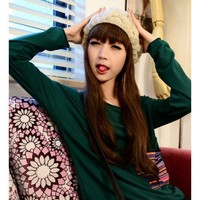 Cotton Long Sleeve Green Women Autumn New Style Korean Style Sweet T-shirt One Size @WH0380gr $10.99 only in eFexcity.com.