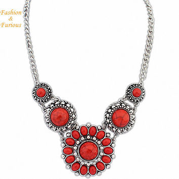 Bohemia Vintage Turquoise Statement Necklace Women Retro Necklaces & Pendants Summer Style Jewelry Colar For Gift Party Wedding