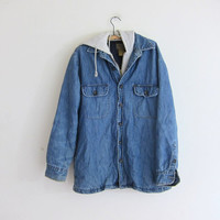 vintage oversized denim jean jacket coat / hooded light wash coat / size M