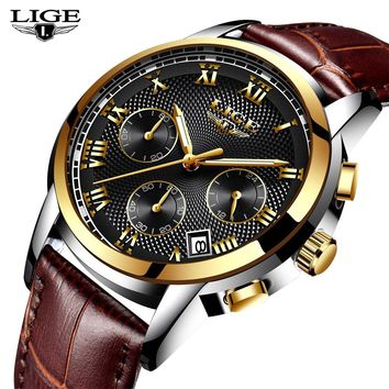 LIGE Watch Men Fashion Sport Quartz Clock Mens Watches Top Brand Luxury Gold Waterproof Leather Casual Watch Relogio Masculino