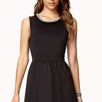 FOREVER 21 Rhinestoned Fit & Flare Dress Black Small