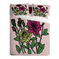 Roses Pillow Cases & Sheet Set / Roses Pillow Case / Roses Fitted Sheet / Roses Sheets / Twin Size, Queen Size, King Size / Girls Bedding