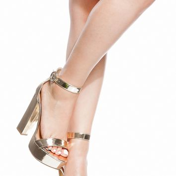 Gold Faux Leather Platform Ankle Strap Heels @ Cicihot Heel Shoes online store sales:Stiletto Heel Shoes,High Heel Pumps,Womens High Heel Shoes,Prom Shoes,Summer Shoes,Spring Shoes,Spool Heel,Womens Dress Shoes
