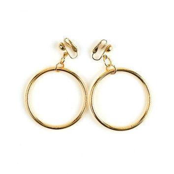 Big Ring Hoop Clip On Earrings Gold Tone Vintage Aged Bead Extra Large Open Ring Lightweight Dangles