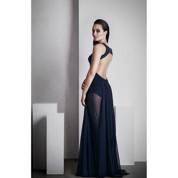 'OPHELIA' FULL LENGTH DRESS - FRENCH NAVY