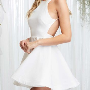 a white summer's tale open back fit + flare dress
