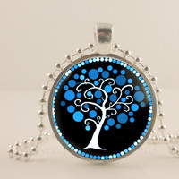 "White, blue and black tree, 1"" round glass and metal Pendant necklace Jewelry."